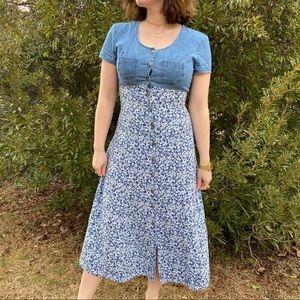 90's Denim & Ditsy Floral Babydoll Maxi Dress